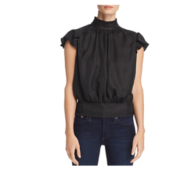 Frame Denim Tops - FRAME Ruffled Button-Back Silk Black Top